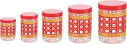 Nayasa Sparkle Plastic Container Set 5Pieces Red