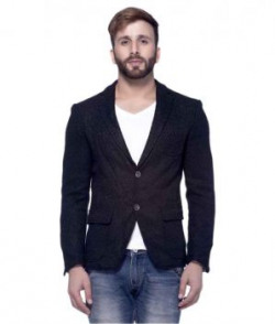 Tinted Navy Solid Casual Blazers