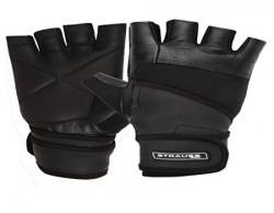 Strauss Leather Gym Gloves With Wrist Wrap Medium
