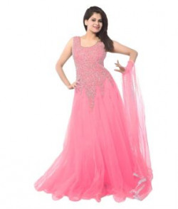 Murliwale Pink Net Anarkali Gown Semi Stitched Dress Material
