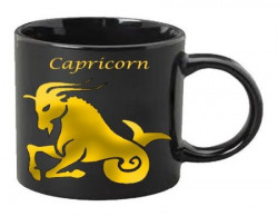Zodiac Black Coffee Mug  Gold Capricorn Sun Sign