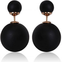 Zeneme Black Pearl Stud Earrings Jewellery For WomenGirls
