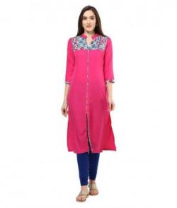 Shakumbhari Pink Crepe Straight Kurti