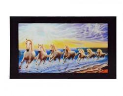 eCraftIndia Running Lucky Horses Design Satin Matt Texture Framed UV Art Painting