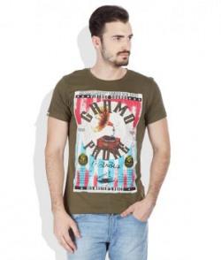 Spykar Green Round Neack T Shirt