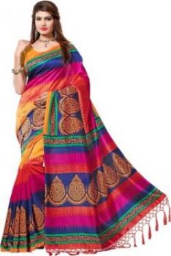 EVastram Printed Bollywood Printed Silk Sari