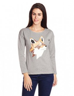 Style Quotient By NOI Womens Cotton Graphic Print Sweatshirt AW15 SQ WOLFGreySmall