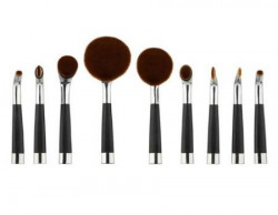 9 Piece Cosmetic Oval Brush Set  Premium Quality Silver