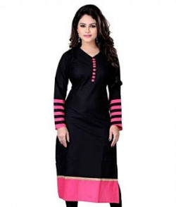 Varibha Womens Cotton Kurti IOKU00003AAAZ BlackFree Size Altrable Till 42 or XL
