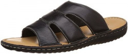 Louis Philippe Mens Black Leather Sandals and Floaters  9 UKIndia 43 EU