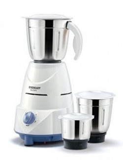 Eveready Glowy 500Watt Mixer Grinder WhiteBlue with Free Eveready AA Pack of 10 Battery