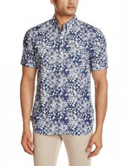 French Connection Mens Casual Shirt 88692892651252FGMLargeOff White and Dark Blue