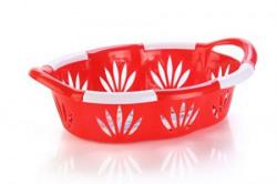 Nayasa Blossom 2 Piece Oval Plastic Fruit Basket Set Red