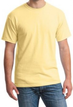 Rapphael Solid Mens Round Neck Yellow TShirt