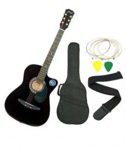 Jixing Black Acoustic Guitar With Gig Bag Strings Picks And Strap