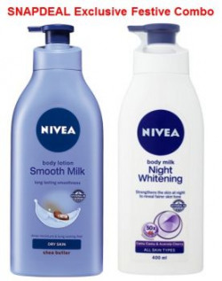 Nivea Smooth Milk Body Lotion 400ml  Nivea Night Whitening Body Lotion 400ml Free