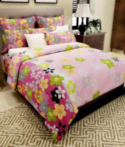 Home Candy Multicolour Floral Cotton Double Bedsheet With 2 Pillow Covers