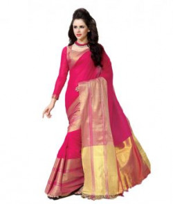 Msretail Pink Cotton Saree