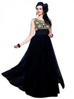 Riti Riwaz Womens Net Unstitched Dress Material Sts10002 Black