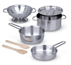 Melissa amp Doug Stainless Steel Pots and Pans Pretend Play Kitchen Set for Kids Multi Color 8 Pieces