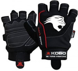Kobo Exercise Weight Lifting Grippy Hand Protector Padded11 Gym  Fitness Gloves S Black
