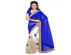 Shree Mira Impex Womens Georgette Saree Sari Blue