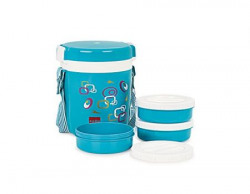 Cello Super Executive Insulated 3 Container Lunch Carrier Blue