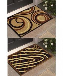 Athom Trendz Modern Living 2 Piece Polyester Door Mat Set  14quotx22quot Brown