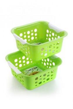 Nayasa Spotty No 1 2 Piece Plastic Fruit Basket Set Small Green