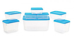 All Time Plastics Polka Container Set Set of 8 Blue