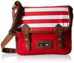 Kanvas Katha Womens Sling Bag Red and White Nautical KKNBSTA002