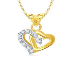 Vina Fashion Jewellery Gold And Rhodium Plated Pendant Necklace For Girls
