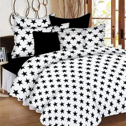 Casa Copenhagen Ezy Collection144 Thread Count Standard 100 Cotton Star SolidGraphicsAbstract Double Bedsheet With 2 Pillow Covers Black amp White