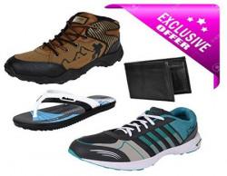 Earton Men Combo Pack of 4 Sports Shoe With Wallet amp Slipper 8 UK