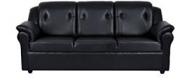 FabHomeDecor York Three Seater Sofa  Black