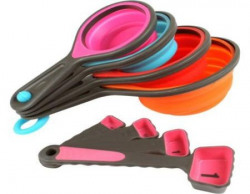 Stackable 8 pcs Silicone Collapsible Measuring Cups amp Spoons Set for Cooking amp Baking Multicolour