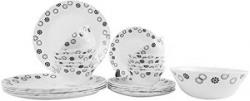 Larah By Borosil Universe Opalware Glass Dinner Set 25Pieces White