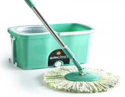 Bathla Ultra Clean Easy Spin Mop with Refill and Dispenser Green and White 3Pieces