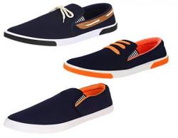 Super Men Canvas Blue Combo Pack of 3 Casual ShoesLoafers amp Moccasins 8 UK