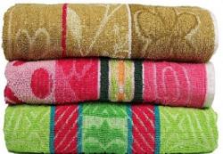 Casa Basics 400 GSM Set Of 3 Jacquard Large Bath Towels 68 X 137 cm Multicolor