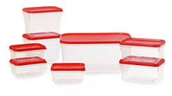 All Time Plastics Polka Container Set Set of 8 Red