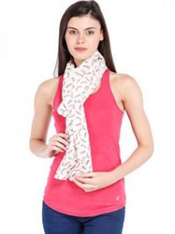 Ten on Ten Womens Printed scarf WhiteFreesize