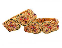 Zeneme Valentine Day Special Designer Gold Plated Bangles Jewellery For Women  Girls