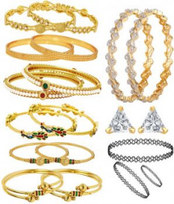 Jewels Galaxy Golden Pair Of Bangles  Set Of 6