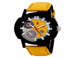Golden Bell Chronograph Look Yellow Dial Watch for Men GB148YDYStrap