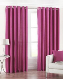 PINDIA Eyelet Polyester Window Curtain  5ft Pink