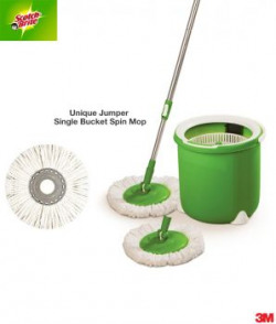Scotchbrite Single Bucket Spin Mop With Two Microfiber Round Refills For Magic Clean