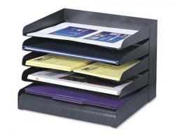 Safco 3127BL Steel Desk Organizer Tray Sorter with 5 Shelves Black