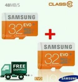 Combo of 2 Samsung EVO 32GB32GB MicroSD MicroSDHC Class 10 Memory Card 48MBs