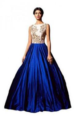 Clickedia Womens Silk Mermaid GownCaddbury Blue GownRoyal BlueFree Size